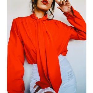Vintage Lee Mar Red/orangey Blouse